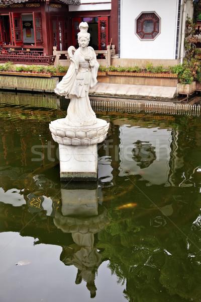 женщину статуя Шанхай саду Размышления Китай Сток-фото © billperry