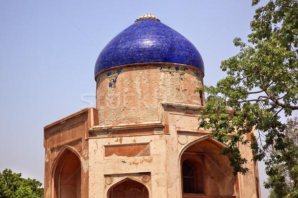 Ancient Blue Dome Sabz Subz Burj Mughal Tomb New Delhi India Stock photo © billperry