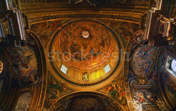 Goldon Baroque Dome and Paintings Gesu Jesuit Church Rome Italy Stock photo © billperry