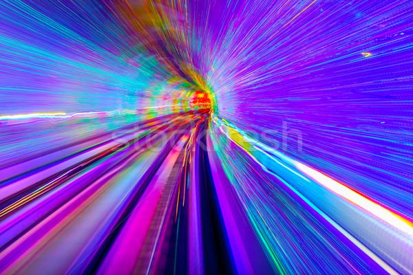 Kék lila sín absztrakt földalatti vasút Stock fotó © billperry