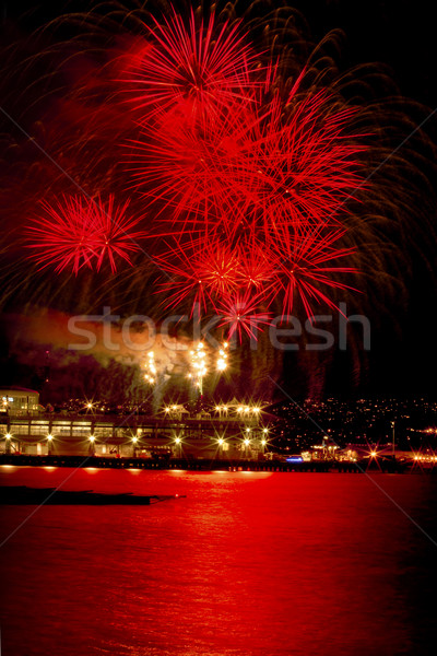 Red Fireworks Vancouver Harbor British Columbia Stock photo © billperry