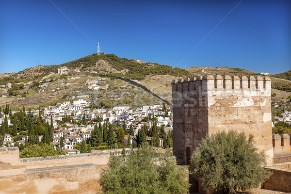 Alhambra Castle Towers Cityscape Wall Granada Andalusia Spain Stock photo © billperry