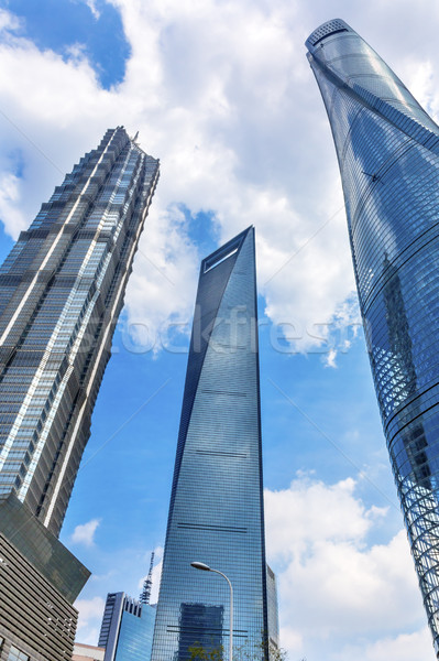 Three Skyscrapers Reflections Liujiashui Financial District Shan Stock photo © billperry
