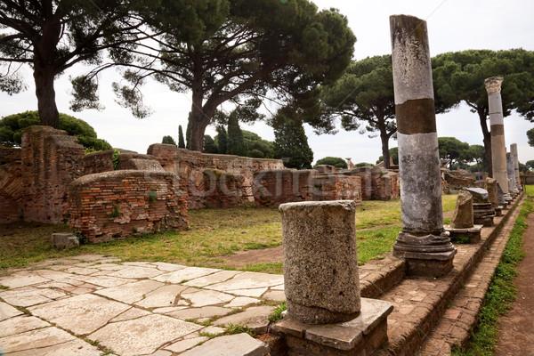 Ancient Roman Street Columns Ostia Antica Rome Italy Stock photo © billperry