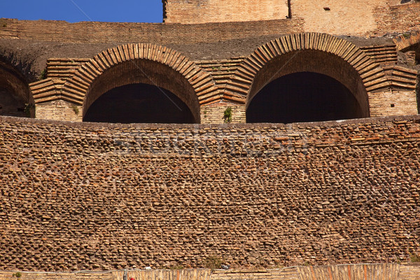 Ancient Colosseum Inside Wall Arches Rome Italy Stock photo © billperry