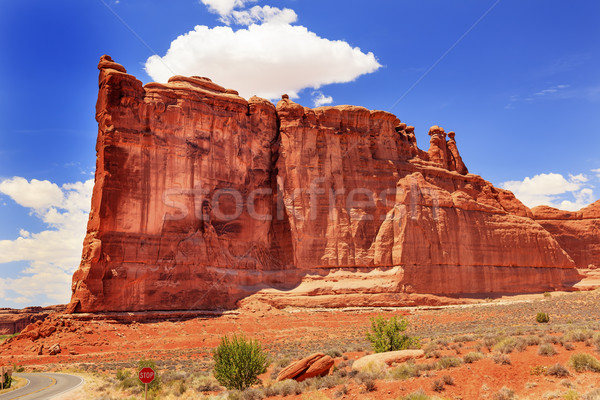 Torre formação rochosa desfiladeiro parque vermelho laranja Foto stock © billperry