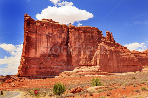 Toren rotsformatie canyon park Rood oranje Stockfoto © billperry