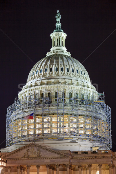 US Capitol North Side Dome Construction Close Up Flag Night Star Stock photo © billperry