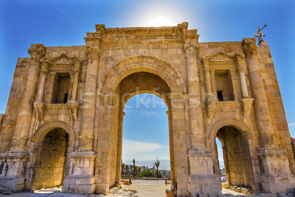 Hadrian's Arch Gate Sun Ancient Roman City Jerash Jordan Stock photo © billperry
