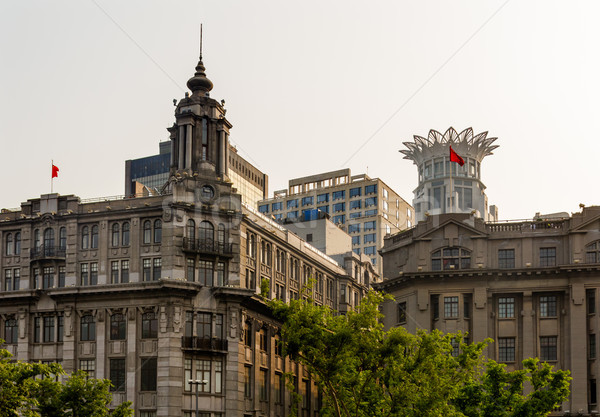 Old Buildings Modern Buildings Bund Shanghai China Stock photo © billperry