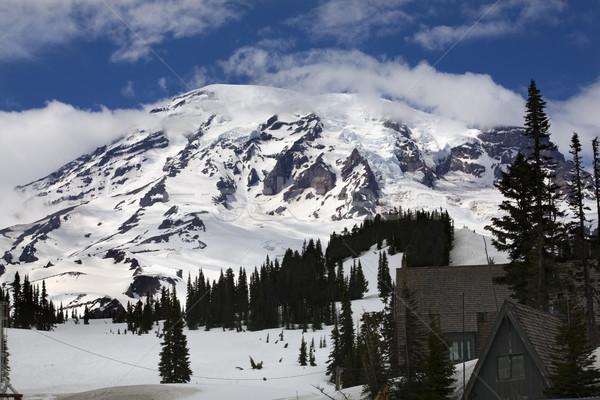 Paraíso posada nieve montana naturaleza fondo Foto stock © billperry