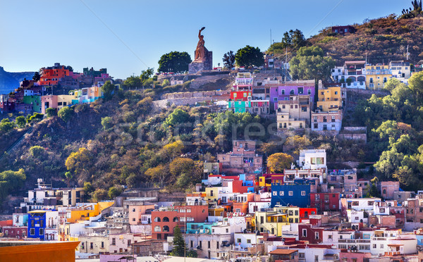 Stock photo: Many Colored Houses El Pipila Statue Guanajuato Mexico