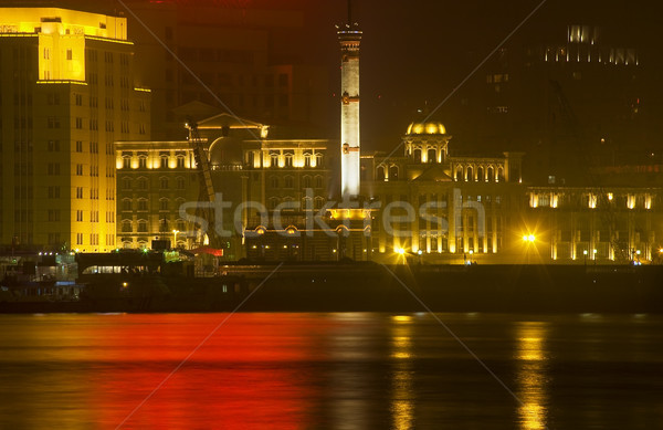 Old Weather Station Reflection Shanghai Bund at Night Stock photo © billperry