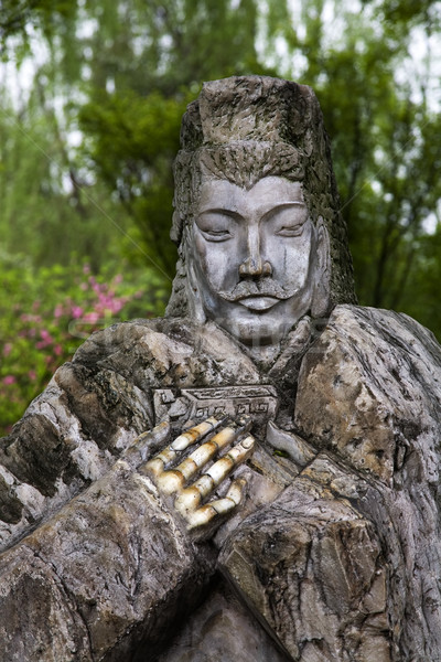 Old Stone Statue Liu Bei Peach Orchard Wuhou Three Kingdoms Temp Stock photo © billperry