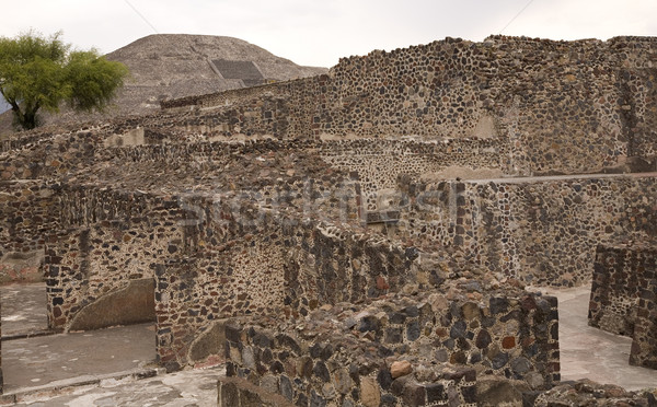 Stock photo: Moon Pyramid With Ruins Teotihuacan Mexico