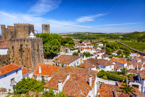 Castle Turrets Towers Walls Orange Roofs Obidos Portugal Stock photo © billperry