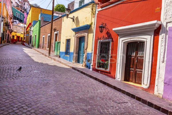 Stock photo: Red Pink Colorful Houses Narrow Street Guanajuato Mexico
