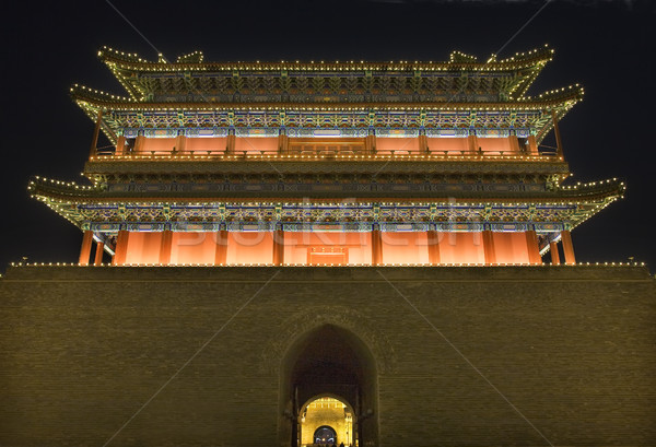 Qianmen Gate Zhengyang Men Tiananmen Square Beijing China Night Stock photo © billperry