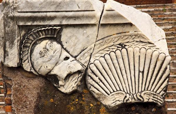 Ancient Roman Decorations Helmet Ostia Antica Rome Italy Stock photo © billperry