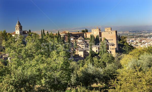 Alhambra kilise kale towers İspanya ağaçlar Stok fotoğraf © billperry
