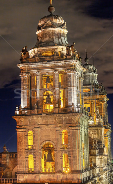 Metropolitan Cathedral Steeples Bells Statues Zocalo Mexico City Stock photo © billperry