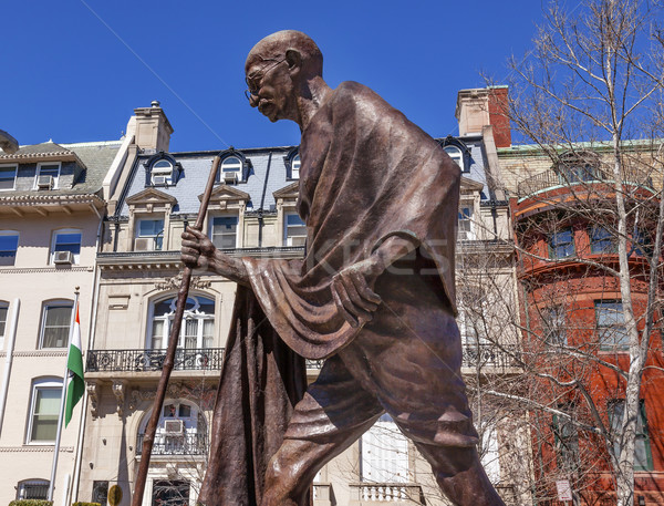 Gandhi Statue Indian Embassy Embassy Row Washington DC Stock photo © billperry