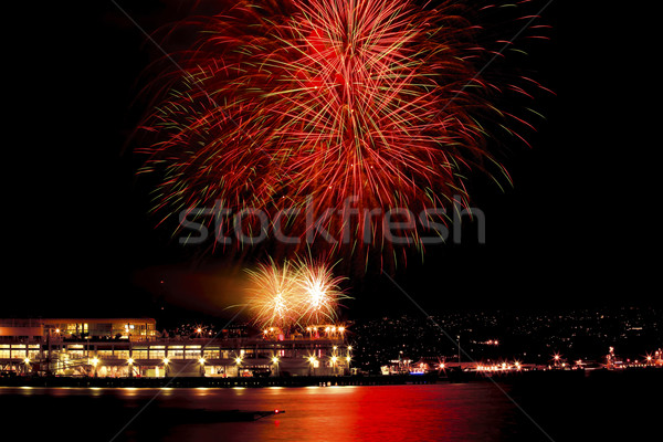 Red Green Fireworks Vancouver Harbor British Columbia Stock photo © billperry