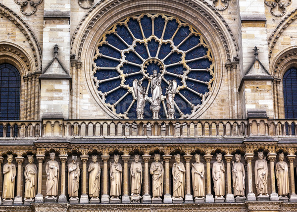 Kings Facade Rose Window Notre Dame Cathedral Paris France Stock photo © billperry