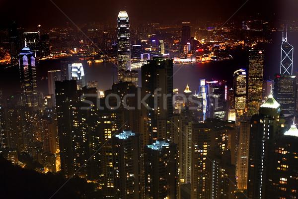 Hong Kong skyline notte porto business Foto d'archivio © billperry