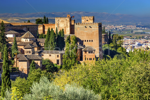 Alhambra Castle Towers Granada Andalusia Spain Stock photo © billperry
