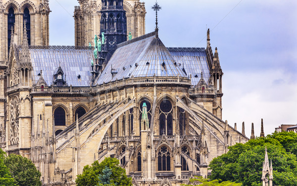 Flying Butresses Spires Towers Overcast Notre Dame Cathedral Par Stock photo © billperry