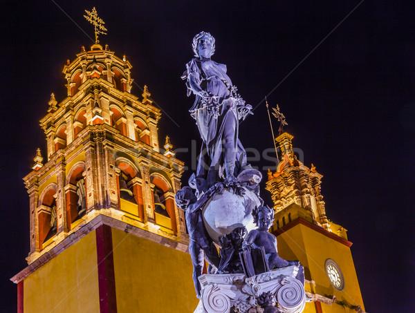 Paz Peace Statue Our Lady Basilica Night Guanajuato Mexico  Stock photo © billperry