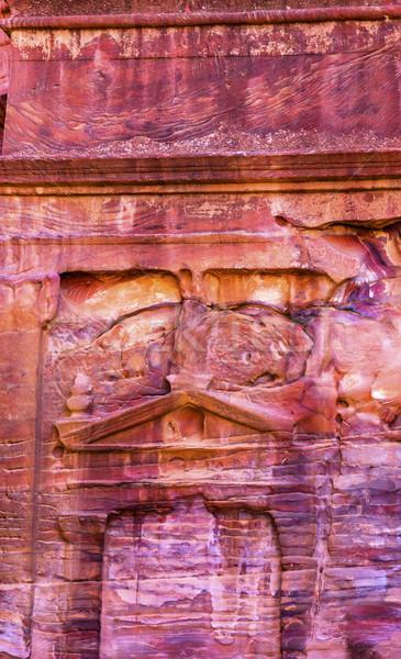 Rose Red Rock Tomb Street of Facades Petra Jordan  Stock photo © billperry