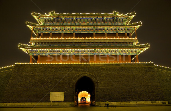 Qianmen Zhengyang Gate Wide Tiananmen Square Beijing China Night Stock photo © billperry