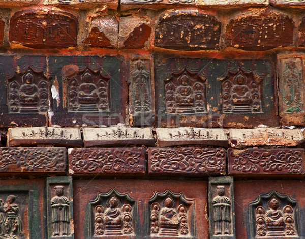 Ancient Buddha Bricks Details Iron Buddhist Pagoda Kaifeng China Stock photo © billperry