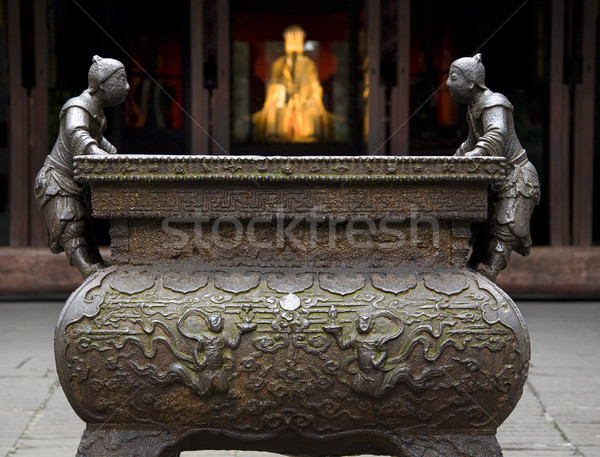 Ornate Iron Incense Pot Liu Bei Statue Wuhou Three Kingdoms Temp Stock photo © billperry