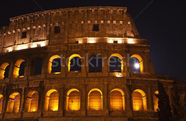 Foto stock: Coliseo · luna · ventana · detalles · Roma