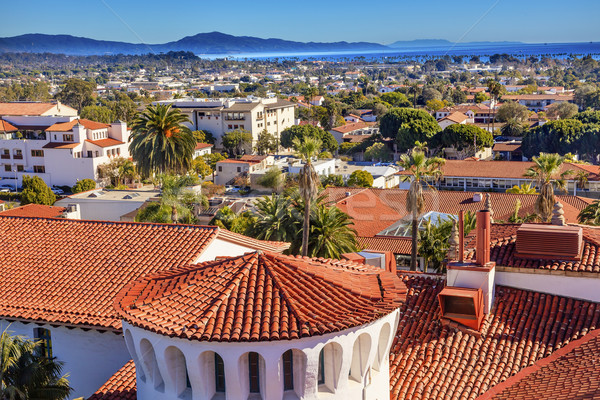 Court House Orange Roofs Buildings Pacific Ocean Santa Barbara C Stock photo © billperry
