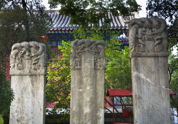 Chinese Grave Markers Fayuan Buddhist Temple Beijing China  Stock photo © billperry