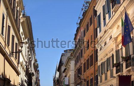 Via Del Balbuno Italy EC Flags Roman Street Rome Italy Stock photo © billperry