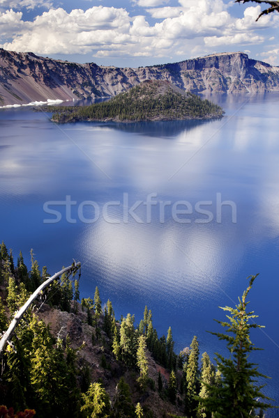 Cratera lago reflexão nuvens blue sky Oregon Foto stock © billperry