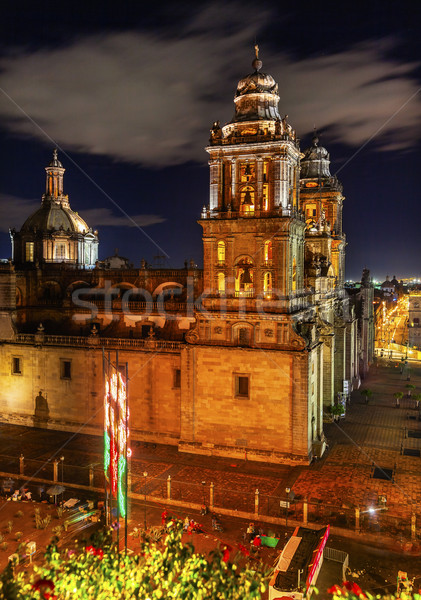 Metropolitan Cathedral Zocalo Mexico City at Night Stock photo © billperry