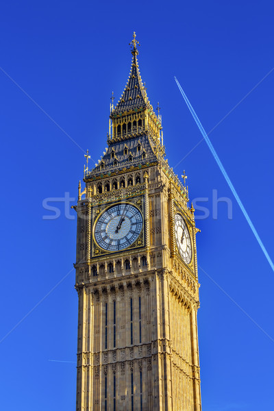 Big Ben Tower Plane Houses of Parliament Westminster London Engl Stock photo © billperry