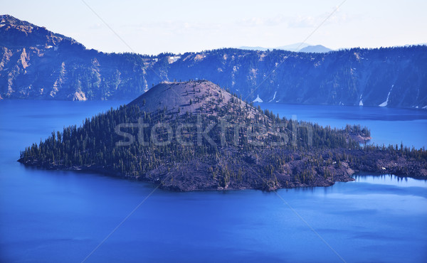 Wizard Island Crater Lake Blue Sky Oregon Stock photo © billperry
