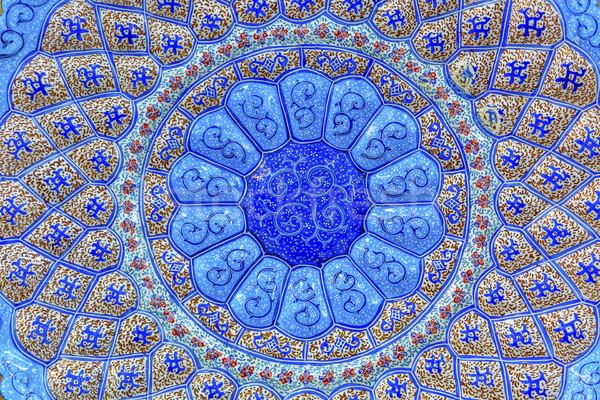 Oude arab ontwerpen Blauw aardewerk Stockfoto © billperry