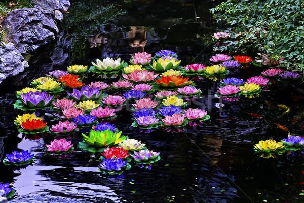 Carp Pond Artificial Water Lillies Jade Buddha Temple Jufo Si Sh Stock photo © billperry