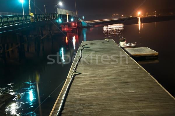 Padnaram Bridge Dartmouth Massachusetts at Night with Reflection Stock photo © billperry