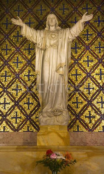 Jesus Statue Flowers Mission Dolores San Francisco California Stock photo © billperry