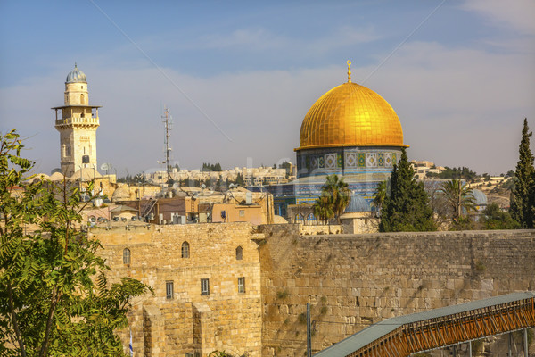 Golden Dome of the Rock Western 'Wailing' Wall Jerusalem Israel  Stock photo © billperry