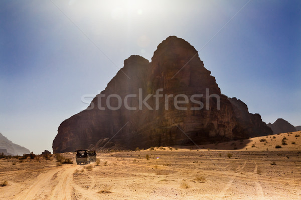 Seven Pillars of Wisdom Rock Formation Jeeps Valley of Moon Wadi Stock photo © billperry